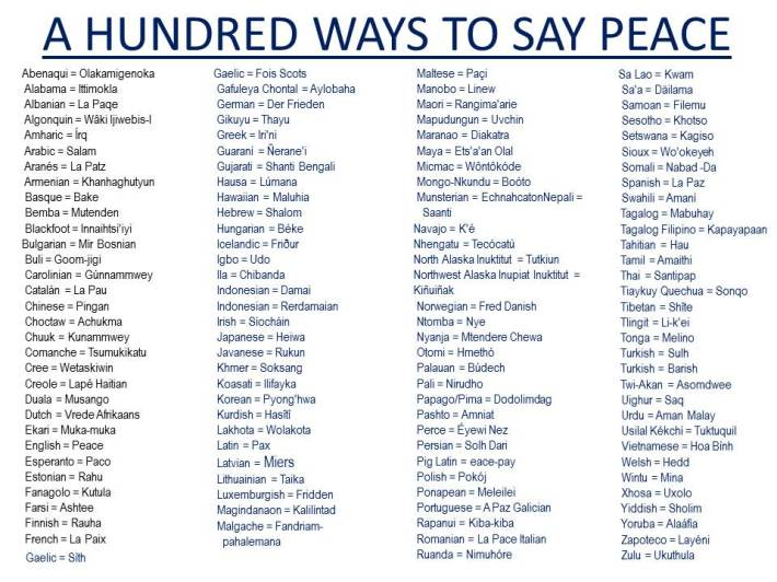 100 WAYS TO SAY PEACE