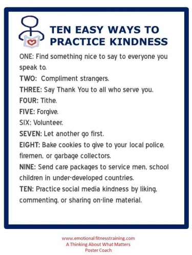 Practicing kindness, one of Emotional Fitness Training's 12 Easy Exercises brightens your light and those you shine it on. Keep shining.