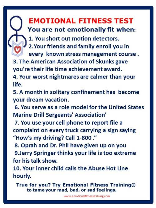 Funny emotional fitness test.
