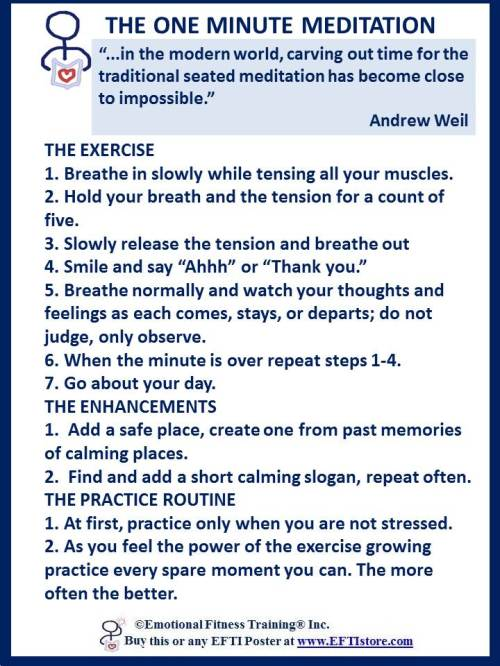 Directions for the One Minute Meditation, an #emotionalfitnessexercise.