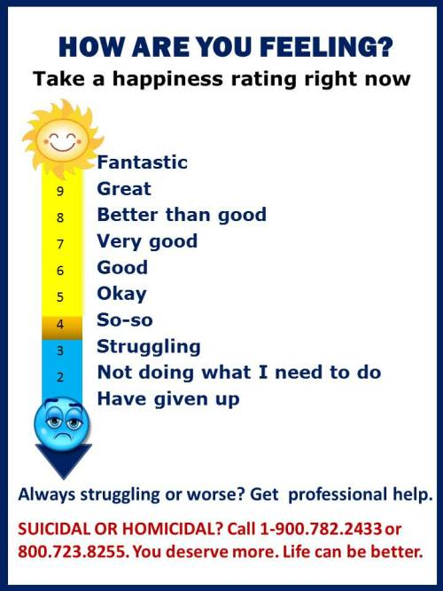 Measuring happiness on a feeling thermometer