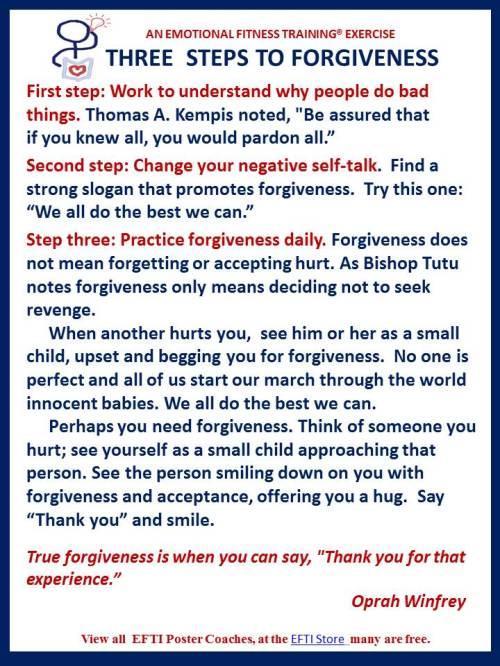Three steps to forgiveness
