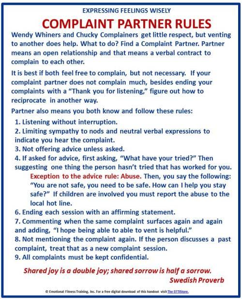 Complaint partner rules.
