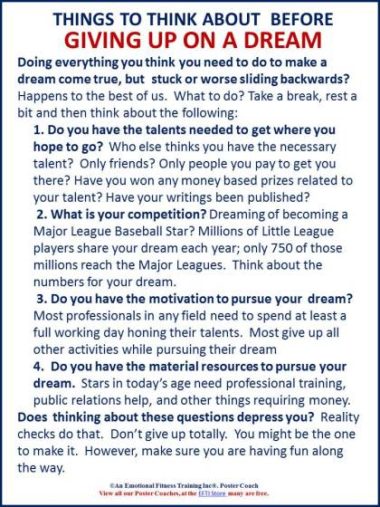 Questions to ask about reaching for a dream