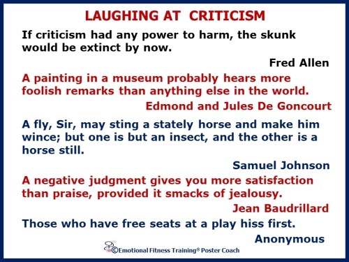 Laughing at criticism